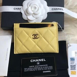 Brand New Chanel Yellow Caviar Card Holder Gold HW
